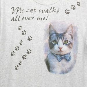 Vintage My Cat Walks All Over Me T-Shirt